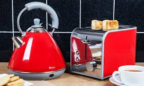Toaster And Kettle Set Red Swan Three Piece Kitchen Set Groupon Goods
