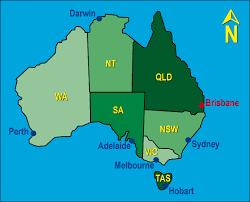 map of austrailia map of australia showing the location of brisbane