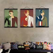 movie home decor batman ironman spiderman wooden framed canvas painting boys room