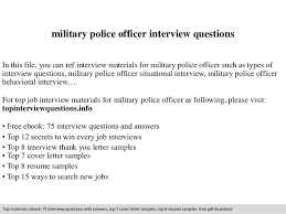 Military Police Officer Resume Sample by Military Police Officer Interview Questions