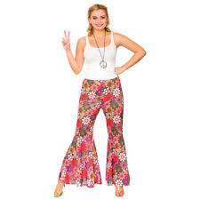 Flower Power Halloween Costume Ladies Flower Power Hippie Trousers 60s 70s Fancy Dress Costume