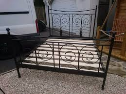 ikea noresund king size double bed black metal frame in