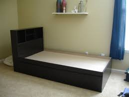 furniture wooden bed with storage drawer and headboard connected
