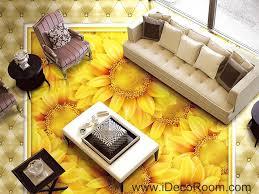 gold sunflowers field 00044 floor decals 3d wallpaper wall mural