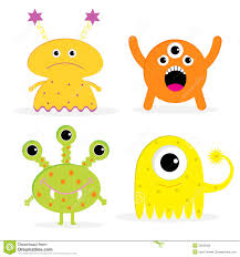 cute happy halloween clipart set of four cute cartoon monsters isolated happy stock vector
