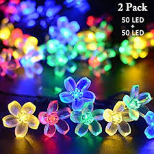 Patio Party Decorations Qedertek Solar Christmas String Lights 21ft 50 Led Fairy Blossom