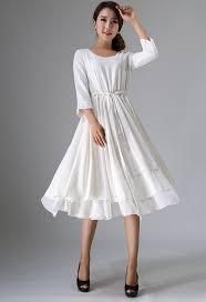 tea length dress wedding dress white linen dress womens dresses tea length