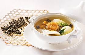 la cuisine de cl饌 桂花龍珠乾貝花膠響螺燉菜膽湯以清幽的茉莉花茶入饌 味道清香怡人