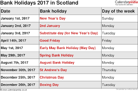 bank holidays 2017 in the uk