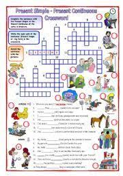 english worksheet present simple present continuous crossword