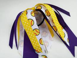 softball ribbon purple and yellow softball hair ribbons team hair bows polka dot