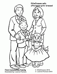 coloring page of a family kids coloring