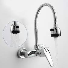 wall mounted kitchen faucets modern wall mounted kitchen and cold water tap spray swivel