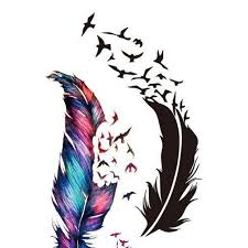 small fresh wild goose feather pattern tattoo stickers photo color