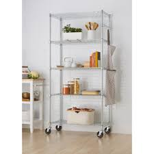 Metal Wire Storage Shelves Wheels Garage Shelves U0026 Racks Garage Storage The Home Depot