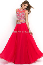 online shop two pieces red prom dress up gown separate beaded