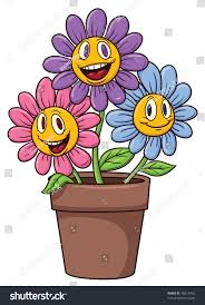cute cartoon flowers on flower pot stock vector 48315442