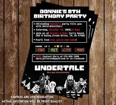undertale video game birthday invitations 15 printed w