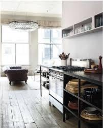 Industrial Kitchen Cabinets Industrial Kitchen Original Wooden Floors Huge Chandelier