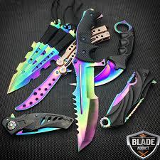 8 pc titanium ninja tactical survival knife set rainbow megaknife 8 pc titanium ninja tactical survival knife set rainbow