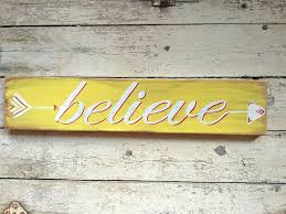 believe arrow wall art decor hand painted wood word sign for