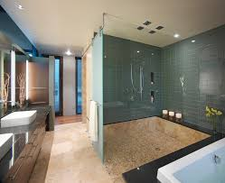 glass room dividers bathroom contemporary with raised sink shower