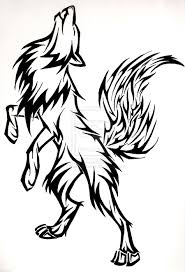 drawn howling wolf for kid animal pencil and in color drawn