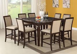 counter high dining room sets acme agatha 9pc black marble top counter height dining room set in