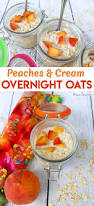 dairy free peaches and cream overnight oats recipe