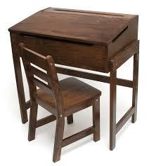 Desk Chair For Kids by Child U0027s Slanted Top Desk U0026 Chair Walnut Finish Lipper