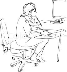 sketch a sits and works at the computer stock vector