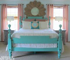 Turquoise Bed Frame I Like The Painted Wood Bed Save To Remind Myself How Painting