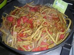 cuisiner poivrons verts haricots verts à la tomate et poivron p