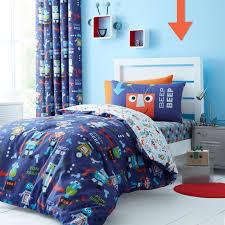 Children S Duvet Cover Sets Catherine Lansfield Robots Blue Kids Childrens Duvet Quilt Cover