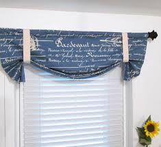 Blue Valances Window Treatments French Stamp Denim Blue Natural Tie Up Curtain Valance Handmade In