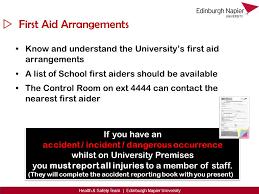 accident reporting book student health u0026 edinburgh napier university health u0026 safety team