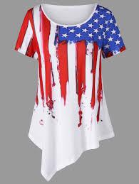 Saipan Flag 2018 American Flag Painted Asymmetric Patriotic T Shirt White M In