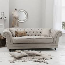 Fabric Chesterfield Sofa Bed Furniture Grey Fabric Chesterfield Sofa With Rattan Basket