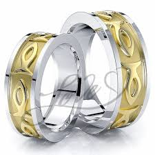 His And His Wedding Rings by Solid 7mm Ichthus Jesus Fish Design Christian His And Hers Wedding
