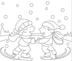 boy ice skating winter coloring kidsycoloring free