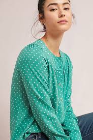 turquoise blouse asbury printed blouse anthropologie