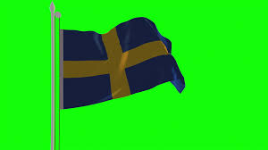 Flag Sweden 4k Turkey Flag Is Fluttering On Green Background Isolated Waving