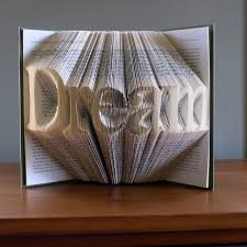 dream inspirational art home decor folded book art book