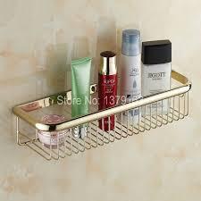 Bathroom Shower Storage Luxury Gold Color Brass Wall Mounted Bathroom Storage Basket Bath