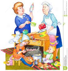 repas cuisine illustration d aquarelle famille dans la cuisine préparant le repas