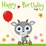 happy birthday cute little goat with flower and butterfly