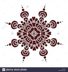 hand drawing mandala element silhouette in marsala color italian