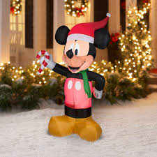 Christmas Outdoor Decor by Airblown Inflatable 5 U0027 Mickey Mouse With Candy Cane Christmas Prop
