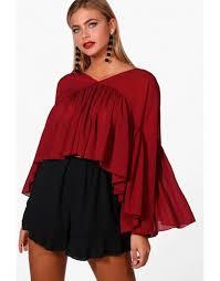 oversized blouse chiffon ruffle oversized blouse wine vogacloset