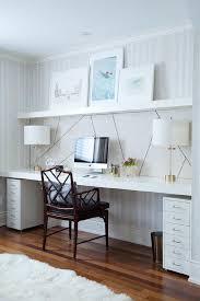 Floating Wall Desk Brown Wooden Two Shelf Wall Desk